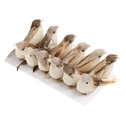 Jili Online 12Pieces Cute Small Artificial Feather Bird Foam