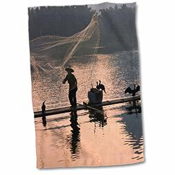 3dRose Danita Delimont - Fishing - Fishing on bamboo raft, L