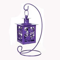 Decor Hanging Lantern Iron Candle Holder With Mini Birds, Pu