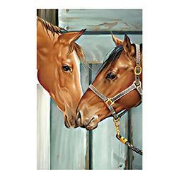 Decorative Custom Flag Two Horses Fall In Love Outdoors Flag