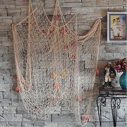 EBTOYS Decorative Fish Net With Beach Shells Mediterranean S