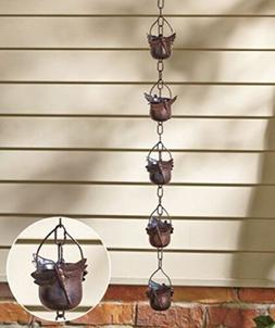 Decorative Iron Dragonfly Rain Chain, Water Gather Save Yard