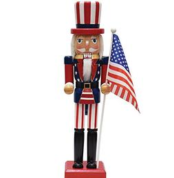 """15"""" Decorative Red, White and Blue Wooden Patriotic Uncle Sa"""