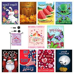 Seasonal Garden Flag Set of 10 Outdoors -12 x 18 inch | All