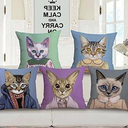 KPOEUY Decorative Throw Pillow Case Cat Series Cotton Linen