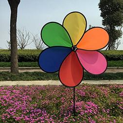 Amrka Decorative Windmills for the Yard Colorful Rainbow Flo