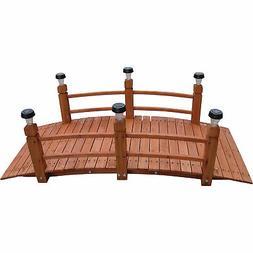 Decorative Wood Bridge With Solar Lights - 5ft.