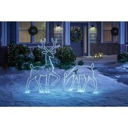 Deer Doe Set Christmas Outdoor Decoration Cool White LED Hol
