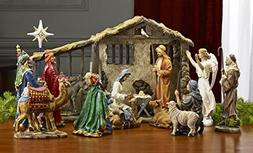 Deluxe Edition 16 Piece 10 Inch Christmas Nativity Set with