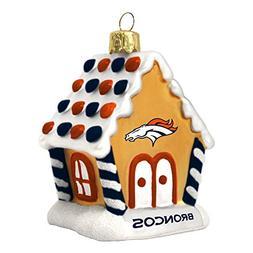 NFL Denver Broncos Football Gingerbread House Glass Christma