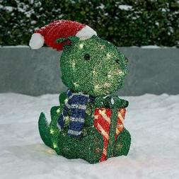 """Dinosaur Christmas Decoration 22"""" Holiday Time Light-up Outd"""