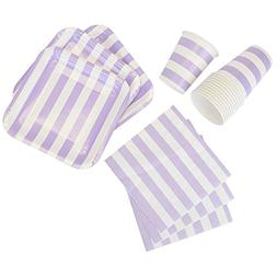 Just Artifacts Disposable Party Tableware 44pcs Striped Patt