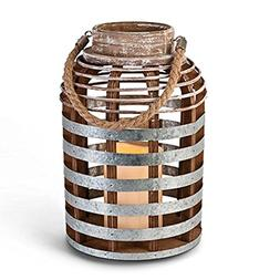 "Gerson 43658 - 10.6"" Distressed Wood/Metal Lantern Wavy Edge"