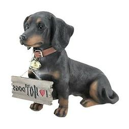 Dog Garden Statue - Dachshund Wearing Reversible Sign Lawn O