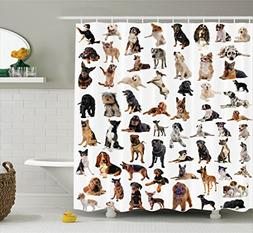 Ambesonne Dog Lover Decor Collection, Picture with Purebred