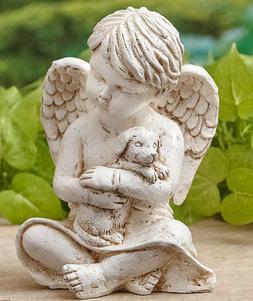 DOG PET MEMORIAL ANGEL STATUE YARD ART LAWN OUTDOOR GARDEN H