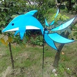 Dolphin Wind Spinner Blue Windmill Outdoor Garden Playing Be