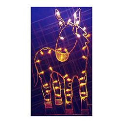 """47"""" Donkey Nativity Silhouette Lighted Wire Frame Christmas"""