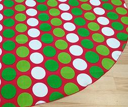 Dot Red & Green Holiday Tree Skirt - FREE Shipping Made in t