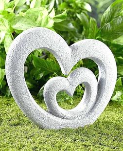 Double Heart Shaped Garden Sculpture Stone Look Memorial Sta
