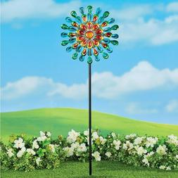 DOUBLE SIDED PEACOCK LOOK WIND SPINNER YARD STAKE -OUTDOOR G