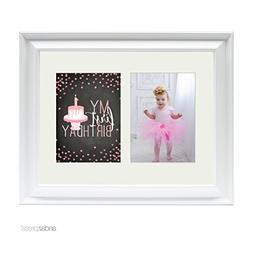 Andaz Press Double White 5x7-inch Photo Frame, My 1st Birthd