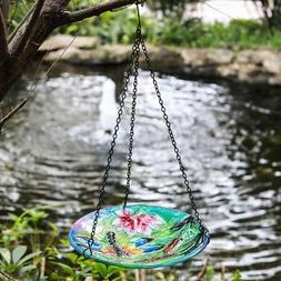Winsome House Dragonfly Hanging Bird Bath, Blue