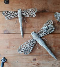 """DRAGONFLY Metal Wall Art Garden Sculpture 14"""" Rustic Antique"""