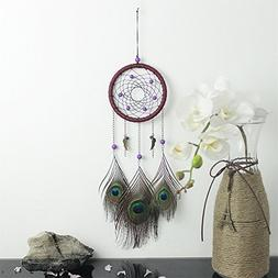 Dream Catcher Handmade Purple Beaded Peacock Feather Wall Ha