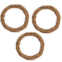 3Pcs Natural Dried 12IN Round Rattan Handmade Garland Wreath