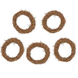 5Pcs Natural Dried 8In Round Rattan Handmade Garland Wreath