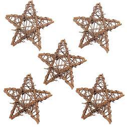 5Pcs Natural Dried 4In Star Rattan Handmade Garland Wreath X