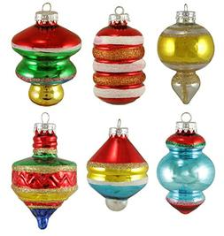Set of 6 Early Years Retro Glass Finial and Top Christmas Or