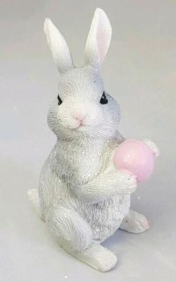 "Easter Bunny Pink Egg Figurine 3.5"" Resin Easter Spring Deco"
