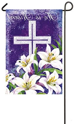 Evergreen Easter Cross and Lilies Suede Garden Flag, 12.5 x