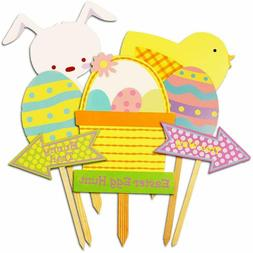 Easter Decorations Outdoor, 7ct Bunny Eggs Corrugate Yard Si