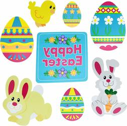 Easter Decorations Outdoor, 8 pcs Bunny Chick Eggs, Yard Sig