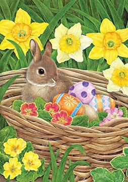 "Easter Egg Basket Garden Flag Bunny Holiday Eggs 12.5"" x 18"""