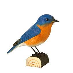 Wildlife Garden Eastern Bluebird DecoBird, Hand-Carved Wood