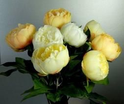 Eight Stems of Artificial Silk Cream, Yellow and Apricot Peo