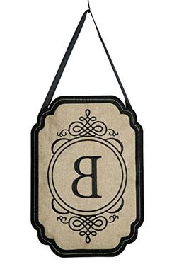Evergreen Elegant Monogram B Burlap Door Decor
