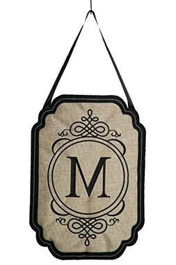 Evergreen Elegant Monogram M Burlap Door Decor