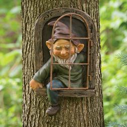 Elf Out The Door Tree Hugger, Garden Peeker Yard Art Whimsic