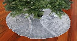 ShinyBeauty 48-Inch Embroidery Sequin Christmas Tree Skirt,