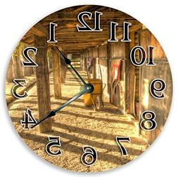 "10.5"" EMPTY HORSES STABLES CLOCK - Large 10.5"" Wall Clock -"