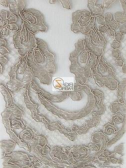 ENGLAND FASHION FLORAL LACE FABRIC - Taupe - BY THE YARD DRE