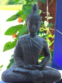 Enlightened Buddha Meditating Garden Statue Cast lava stone