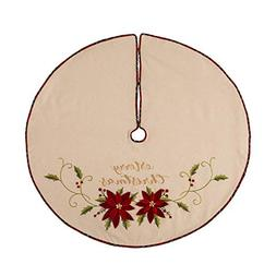 Glitzhome Fabric Poinsettia Tree Skirt Christmas Home Decor,