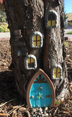 "Fairy Garden Gnome Door 8 1/2"" tall and 4 Windows Set Tree"