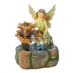 Fairy Outdoor Garden Illuminated Water Fountain Yard Patio D